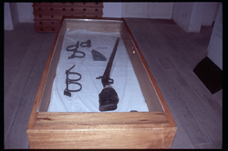Gun and leg irons used in enslavement:  museum, House of Slaves,  Goree Island, Senegal.