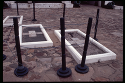 Tombs of Rev. Philip Quacoe, Captain George Maclean and Letitia E. Landon, wife of Captain George Maclean, Cape Coast Castle Courtyard.